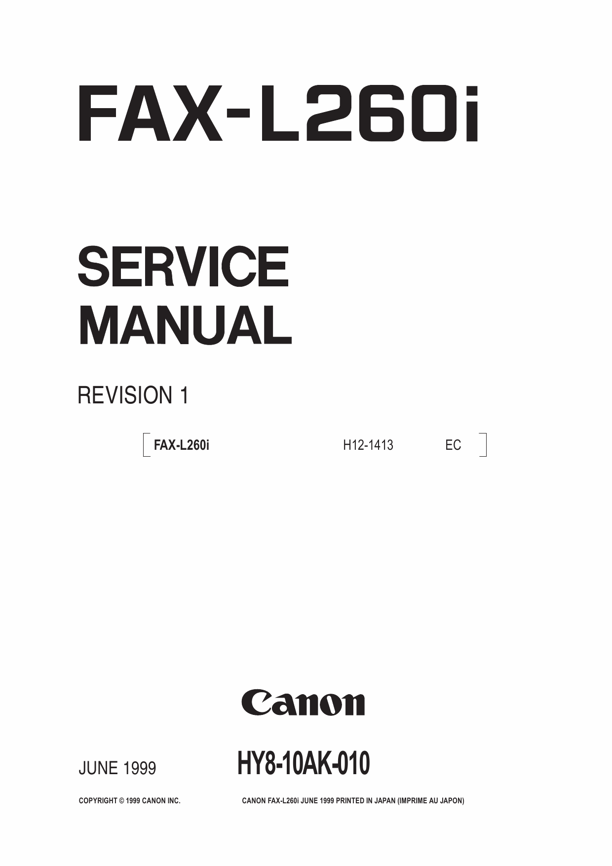 Canon FAX L260i Parts and Service Manual-1